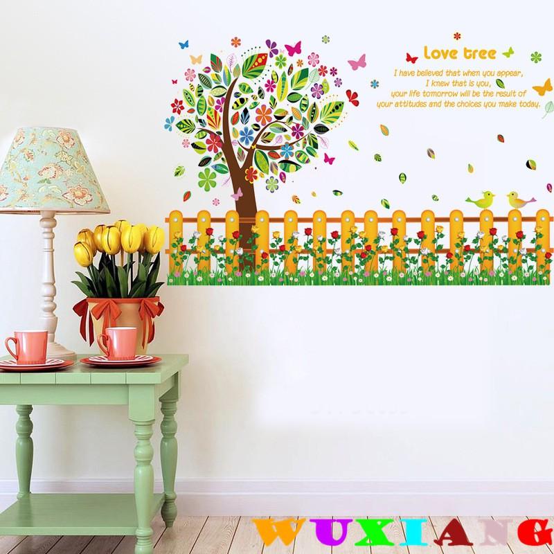 【五象設計】壁貼 貼紙 房間裝飾 彩色柵欄花 卡通樹踢腳線 牆壁裝飾貼畫