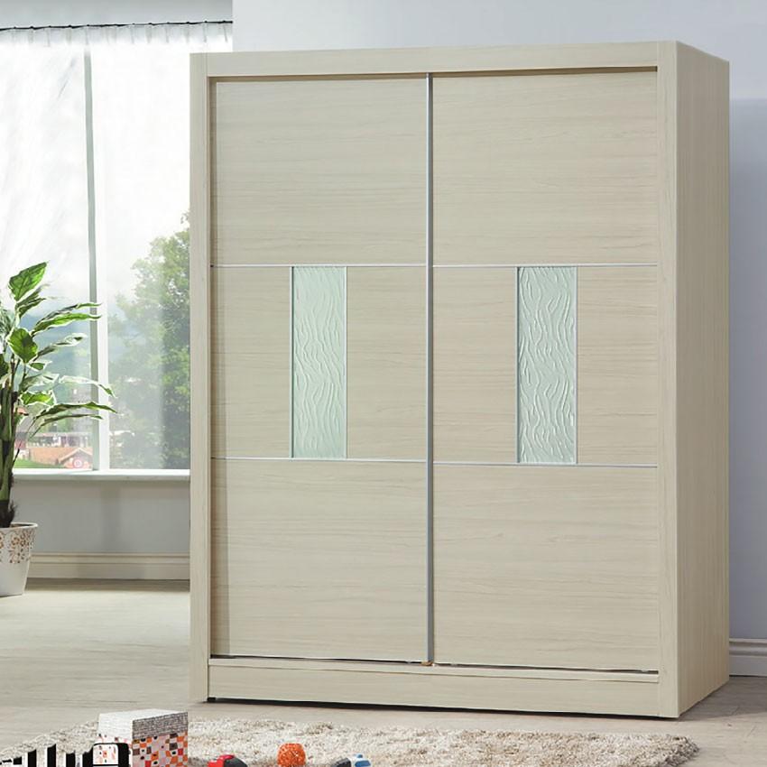 【141cm衣櫃-E116-7】木心板 推門滑門開門 衣服收納 免組裝 【金滿屋】