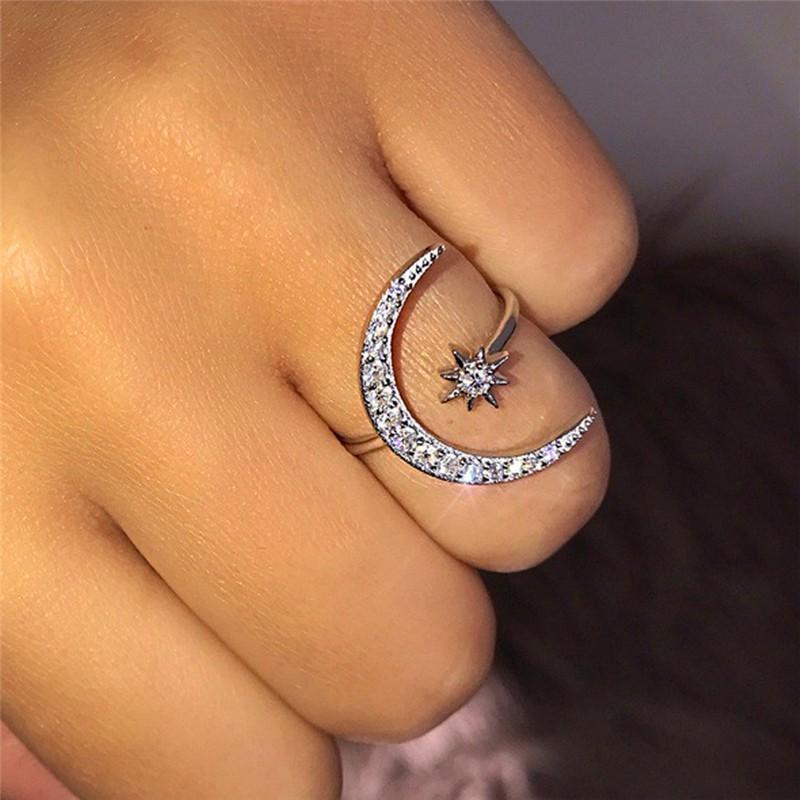 FT黃金女士鑽石月亮和星星戒指飾品