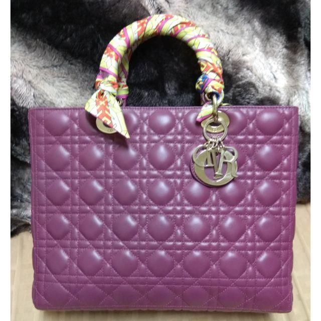 Lady Dior 迪奧經典黛妃包(正品)桃紫色七格大款