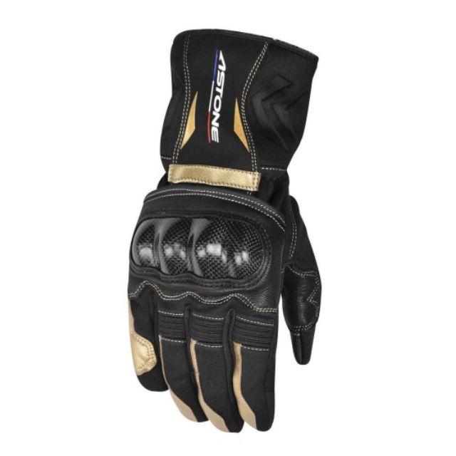 ASTONE GC01碳纖維防摔冬季防水防風手套  可觸控手機模式加長版 黑/金色