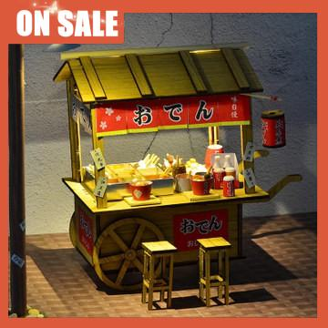 【峰峰の公仔店】創意食玩木質拼裝模型木質diy小屋關東煮地攤夜市小吃攤車仔檔大