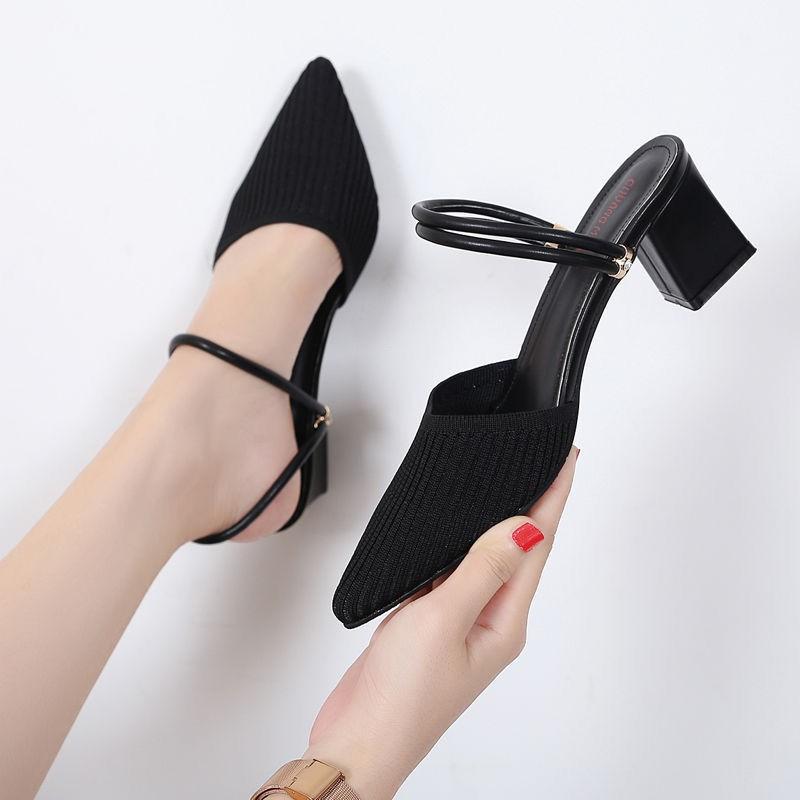 一鞋兩穿粗跟 飛織透氣涼鞋 女尖頭包頭粗 跟涼拖鞋網紅 一字帶鞋