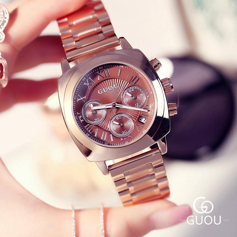 Guou 復古時尚方形手錶韓版三眼金屬 Csteel 錶帶手錶男女禮物