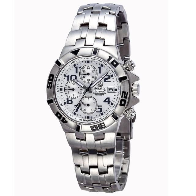 台灣品牌手錶腕錶【TELUX鐵力士】競速三眼計時系列腕錶36MM台灣製造石英錶93527W-W鋼帶白面