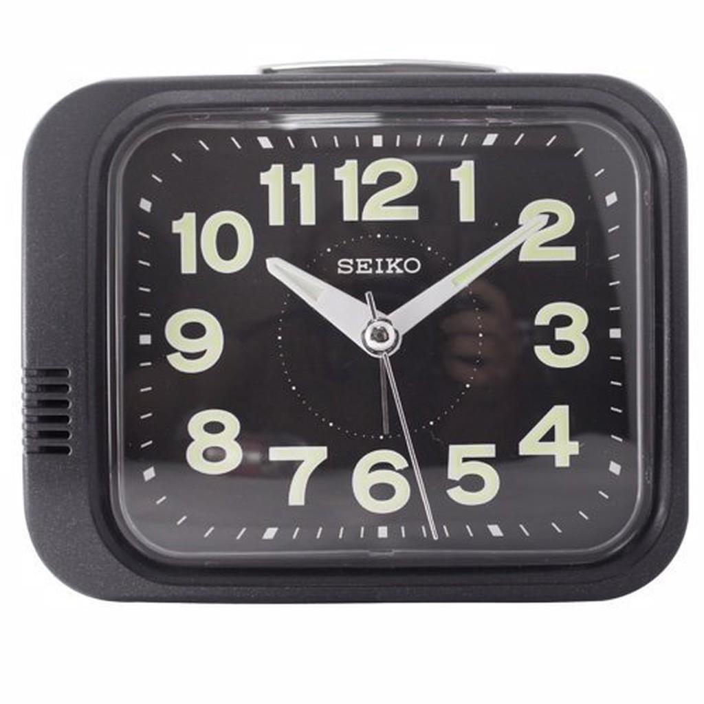 日本精工-SEIKO QHK028方型夜光響鈴鬧鐘 大聲公 靜音式秒針  鬧鐘-黑色