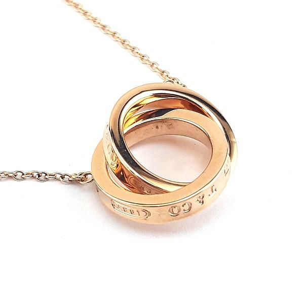 Tiffany 1837 Rubedo金色-雙戒環結墜飾項鍊