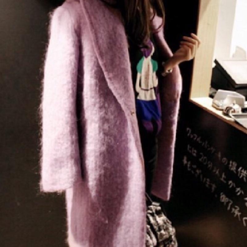 正韓 全新 粉 紫 100% 羊毛 翻領 西裝 大衣 外套