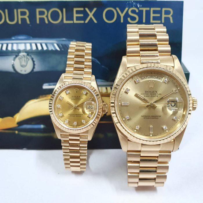 ROLEX勞力士 蠔式18K金對錶 18238 69178錶徑36 26mm原廠金十鑽面盤 自動機械 大眾當舖 6517