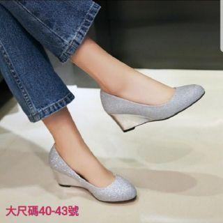 大尺寸 大尺碼 婚鞋 楔形鞋 坡跟 高跟鞋 40-43號 26.5號 女鞋 高跟鞋 楔形 亮片 厚底 大碼 大尺碼 彰化縣