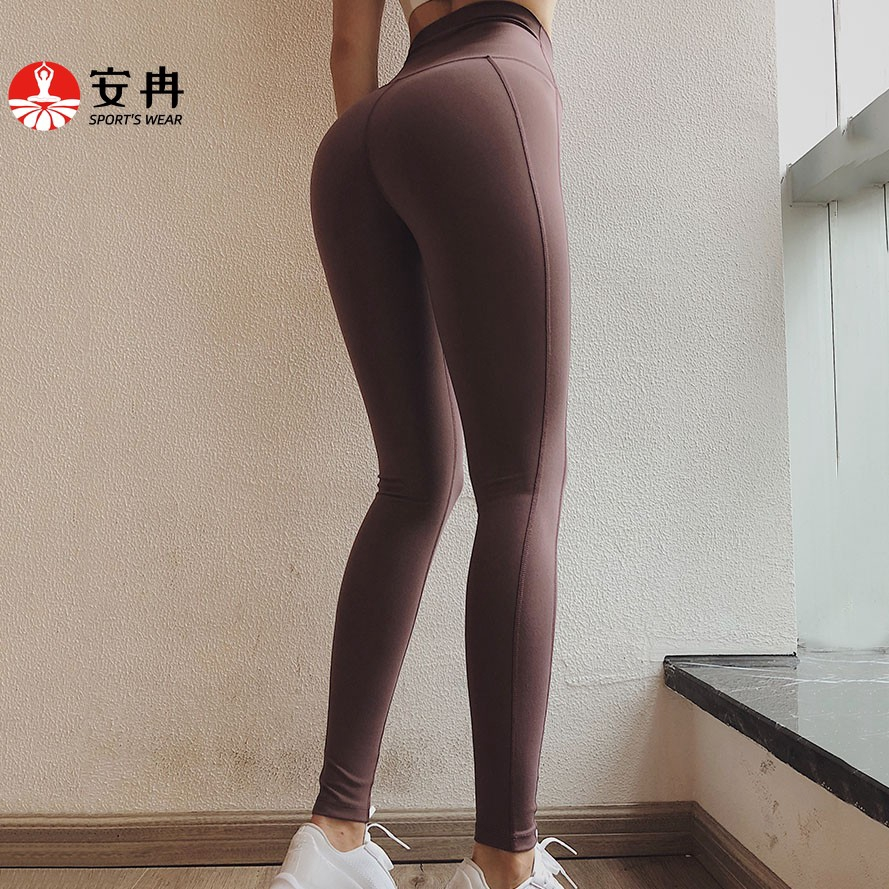 【安冉】運動長褲 S-XL蜜桃臀跑步緊身褲 運動瑜伽服 健身褲 緊身褲 壓力褲 訓練瑜伽長褲小腳 速乾提臀 加大碼