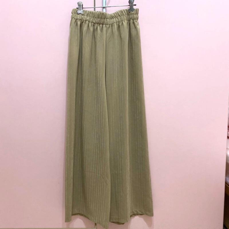 Meierq同款微光澤條紋寬褲