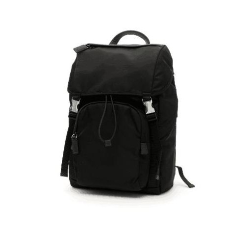 芳芳二手正品 PRADA 招牌logo三角鐵牌 backpack男生款 科技尼龍大款後背包 黑色2VZ135
