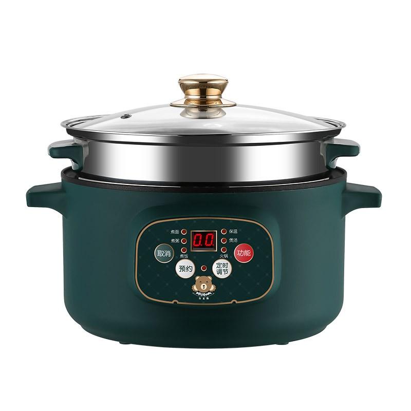 現貨-110V智能快煮鍋 送蒸籠+八件套 液晶顯示 快煮美食鍋 電火鍋 快煮鍋 電煮鍋 小電鍋/快出