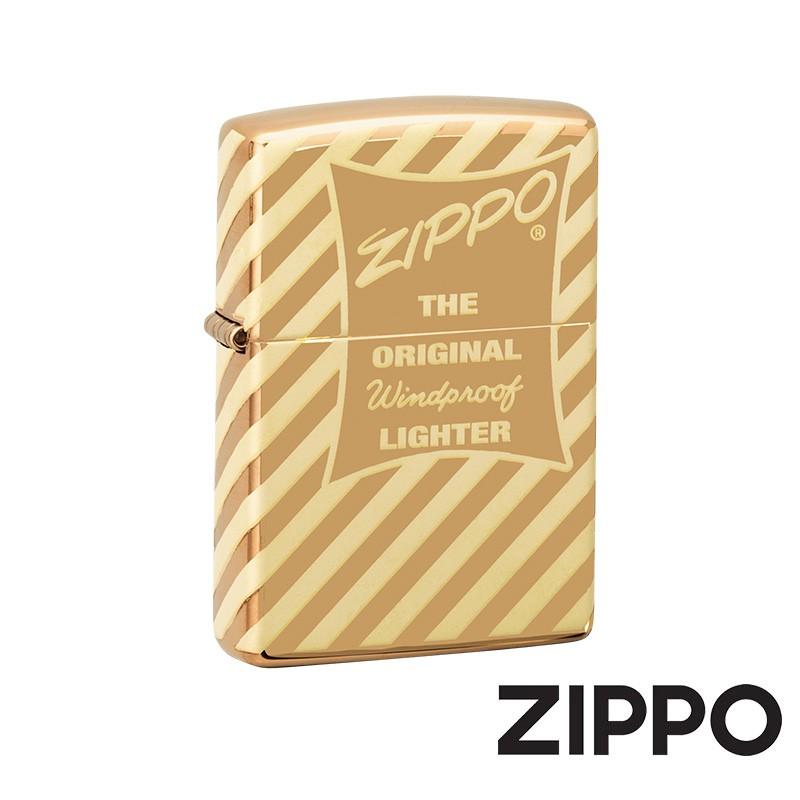 ZIPPO 復古金條紋防風打火機 美國設計 49075