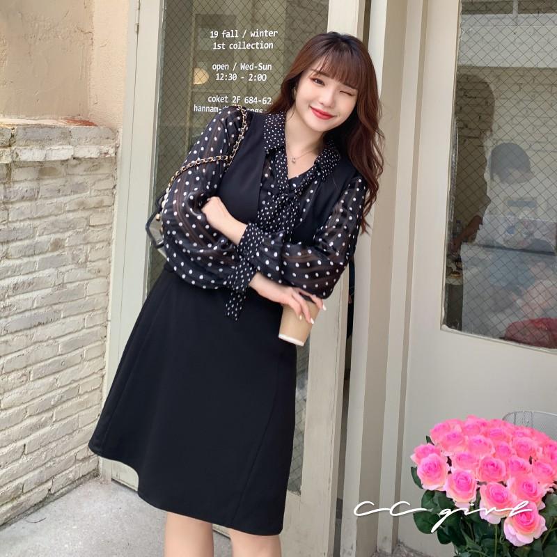 中大尺碼 百搭V領純色修身背心裙- 適XL~4L《 20227 》CC-GIRL