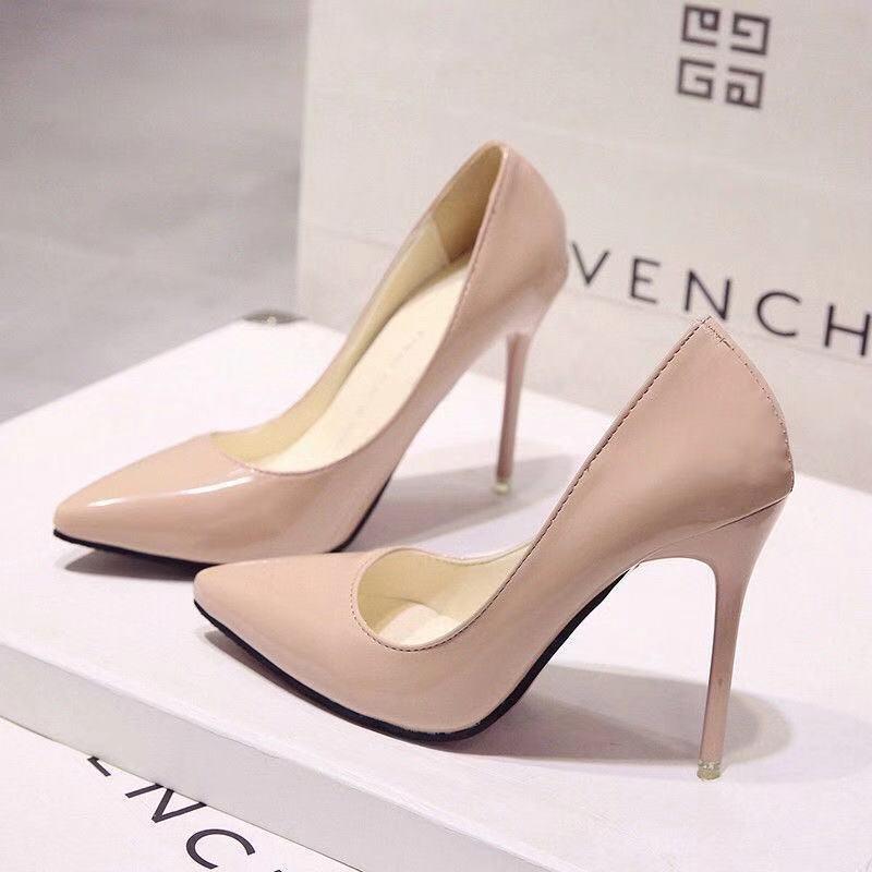 春10cm裸色尖頭高跟鞋細跟女單鞋黑色中跟淺✪口工作鞋紅色婚鞋