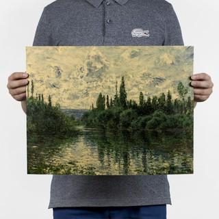 復古風~莫奈-塞納河畔 風景名畫油畫 牛皮紙海報 酒吧咖啡館書房裝飾畫芯