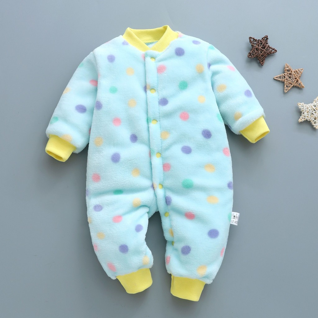 韓版新生兒爬服 珊瑚絨哈衣螺紋立領 寶寶哈衣 新款嬰幼兒連身裝 寬鬆舒適 柔軟透氣 暗釦 穿脫方便【HOT 本鋪】