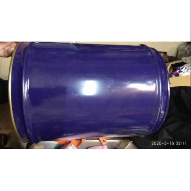 小鐵桶  汽油桶  廢油桶 鐵蓋 藍色 二手