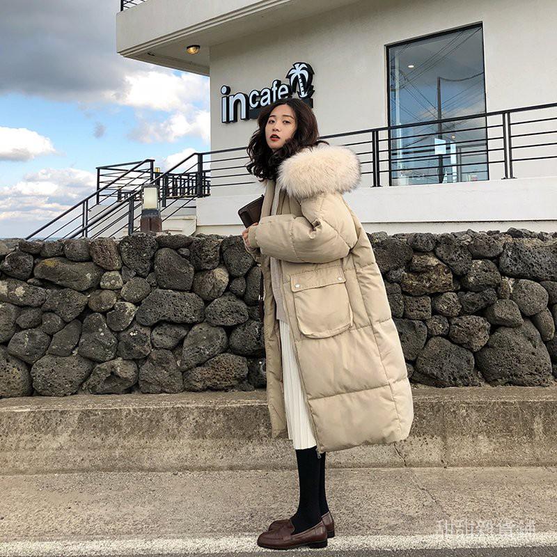 【熱賣】冬季寬鬆棉衣外套 中長款韓版潮保暖棉服加厚大毛領女過膝