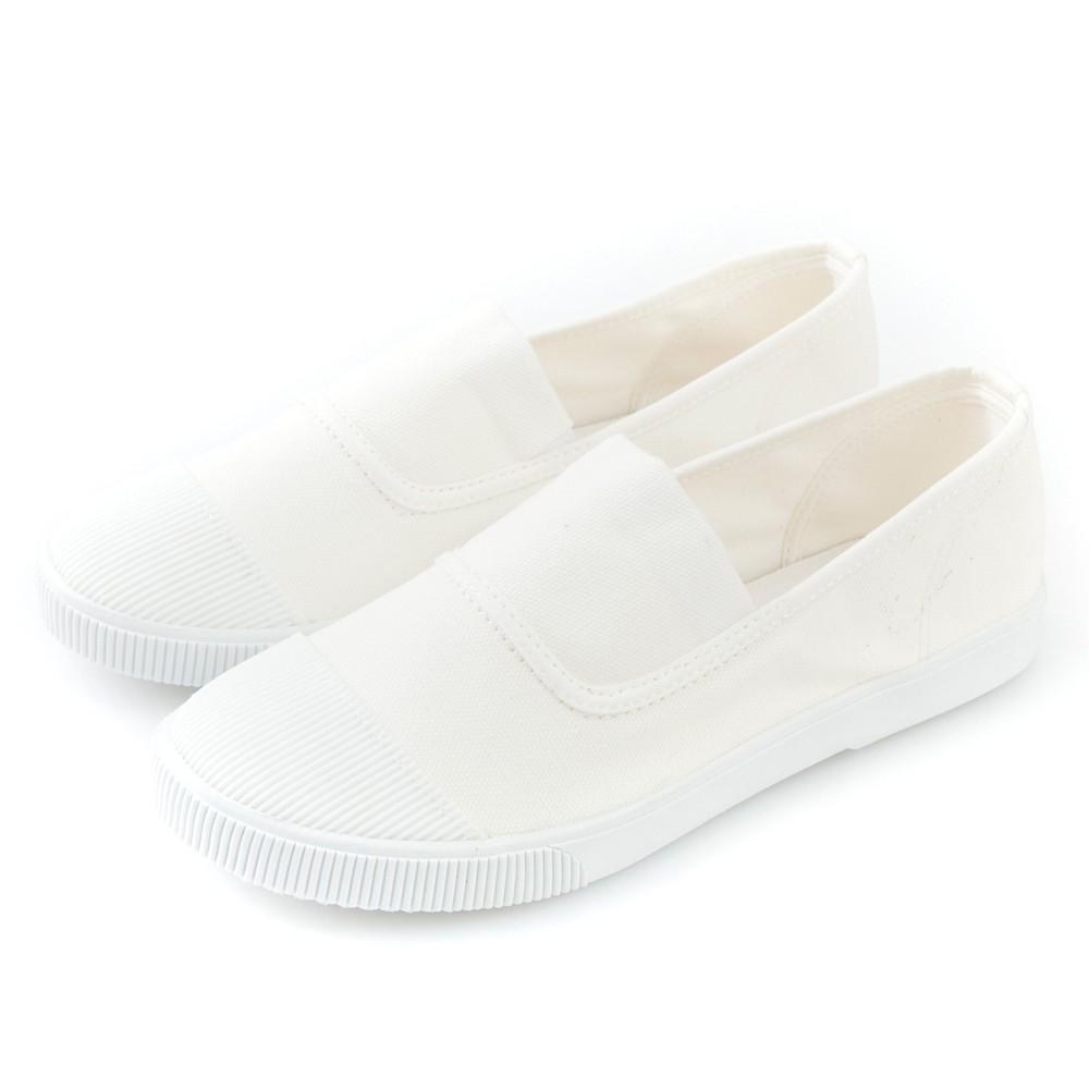 Camille's 韓國空運-正韓製-彩色心情-素面帆布懶人休閒鞋-百搭白