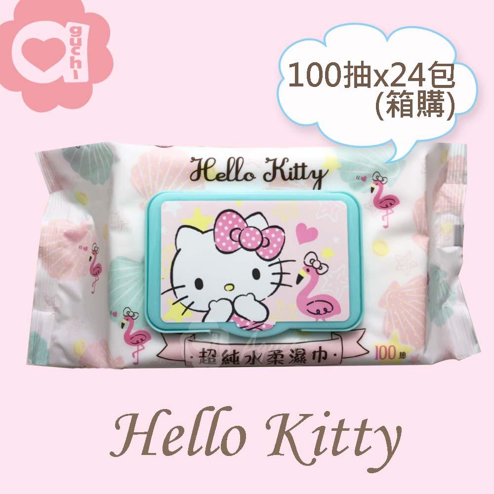 Hello Kitty 凱蒂貓超純水有蓋柔濕巾/濕紙巾 100抽 X 24 包 箱購 特選柔軟水針布