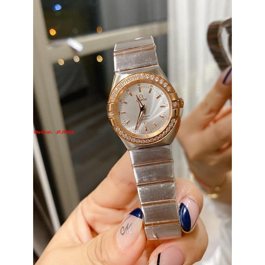 【二手正品】OMEGA 歐米茄Ω雙鷹星座系列經典款女錶  玫瑰金色貝母錶盤 蝴蝶雙按扣女錶 手錶 腕錶  543432