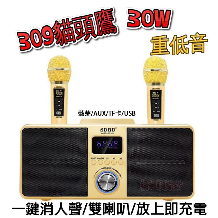 2021最新 正版SDRD-309無線藍芽音響貓頭鷹 309 攜帶式 麥克風音響 藍牙喇叭 /K歌無線麥克風 楊過頂姑姑