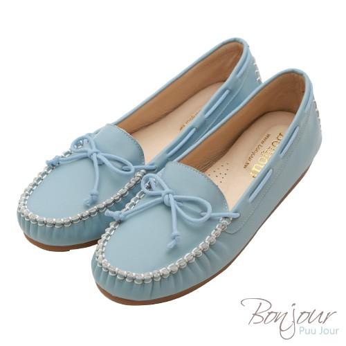 (現貨)BONJOUR 全真皮MIT手工莫卡辛休閒豆豆鞋Moccasin ZB0398 藍