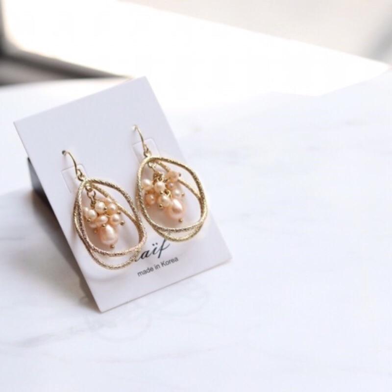韓國耳環-淡水珍珠耳勾耳環