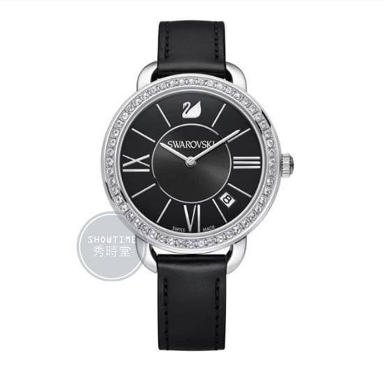 [ 秀時堂 ] SWAROVSKI 施華洛世奇 水鑽框貝殼面盤腕錶-黑皮帶/黑面銀 5172151