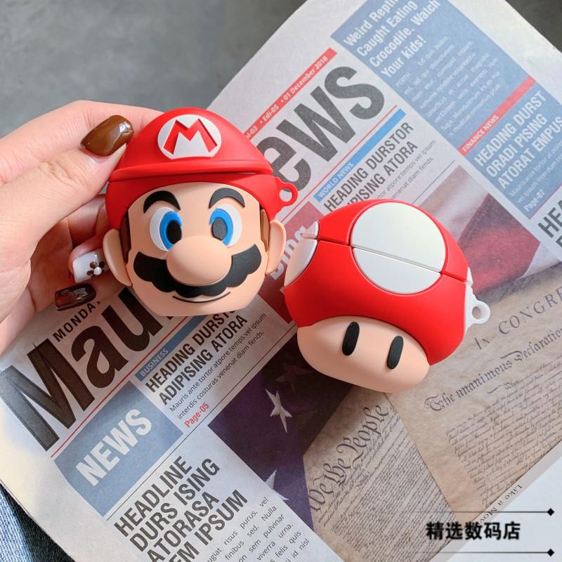 華#ins卡通瑪麗奧airpods保護套蘋果無線耳機套airpods2情侶防摔硅膠