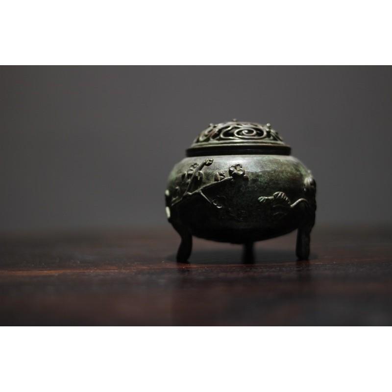 照夜白生活茶事 日本三足香爐、香爐、銅香爐、日本茶道具、茶具、茶藝、茶道、香