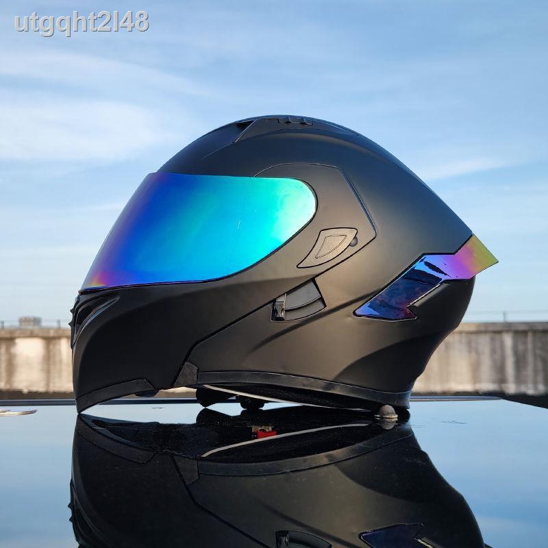【爆款現貨】ↂ❈Orz頭盔男女電動摩托車揭面盔全盔尾翼半盔安全帽個性冬季機車灰