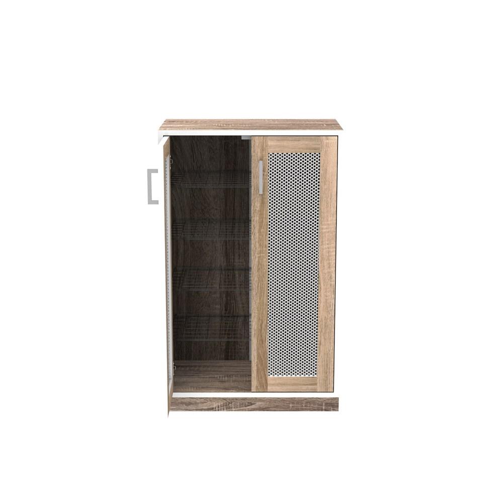 (組) 特力屋萊特 組合收納櫃 胡櫃黑網層銀網門胡桃腳 60x35x91cm