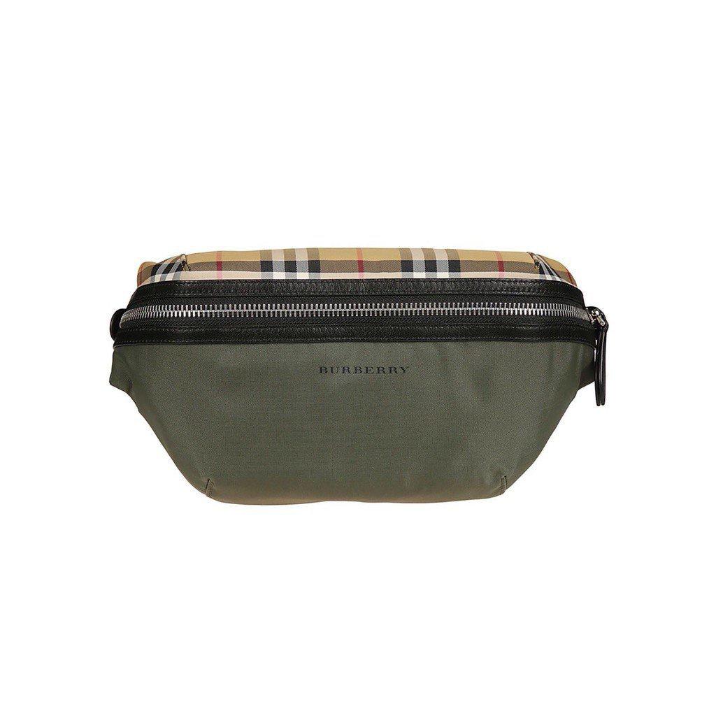 二手正品 BURBERRY 19S/S VINTAGE 格紋 綠色 拼接 尼龍 腰包 斜背包 新款