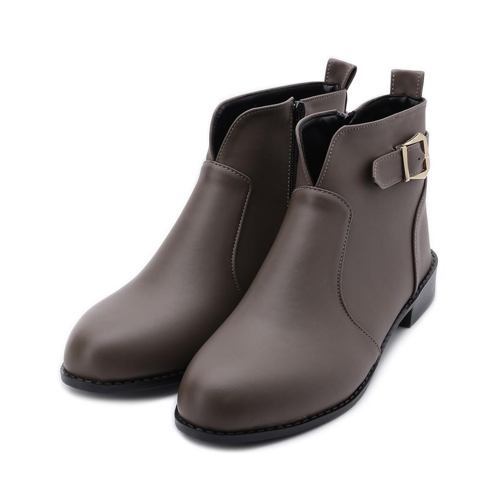 RIN RIN 皮釦V字短靴 可可 女鞋
