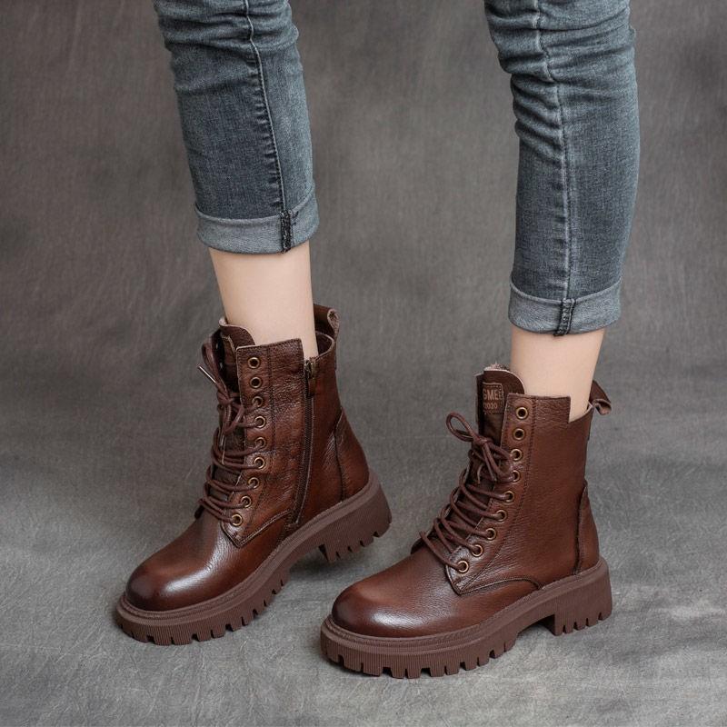 馬丁靴—复古真皮马丁靴女英伦风黑色皮靴子女春秋中筒靴厚底短靴女冬加绒