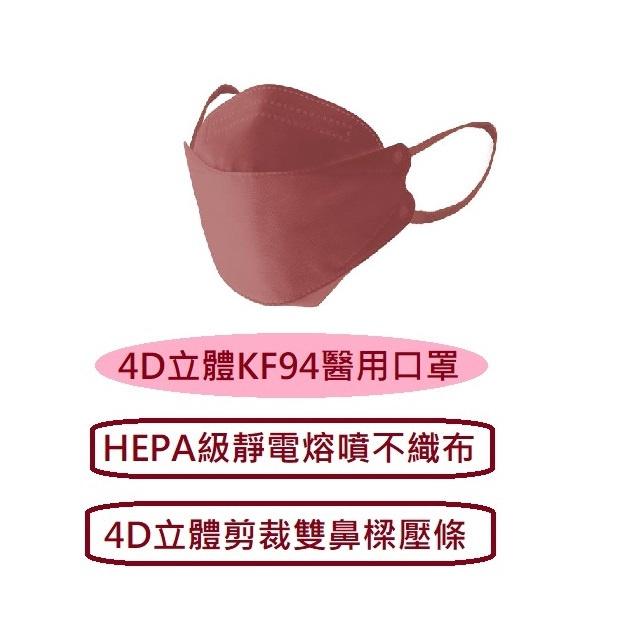 玫瑰蜜桃(酒紅) 台灣製造 久富餘4D立體KF94醫用醫療口罩 單片包裝一盒10入 雙層HEPA熔噴布 寬扁舒適彈性耳帶