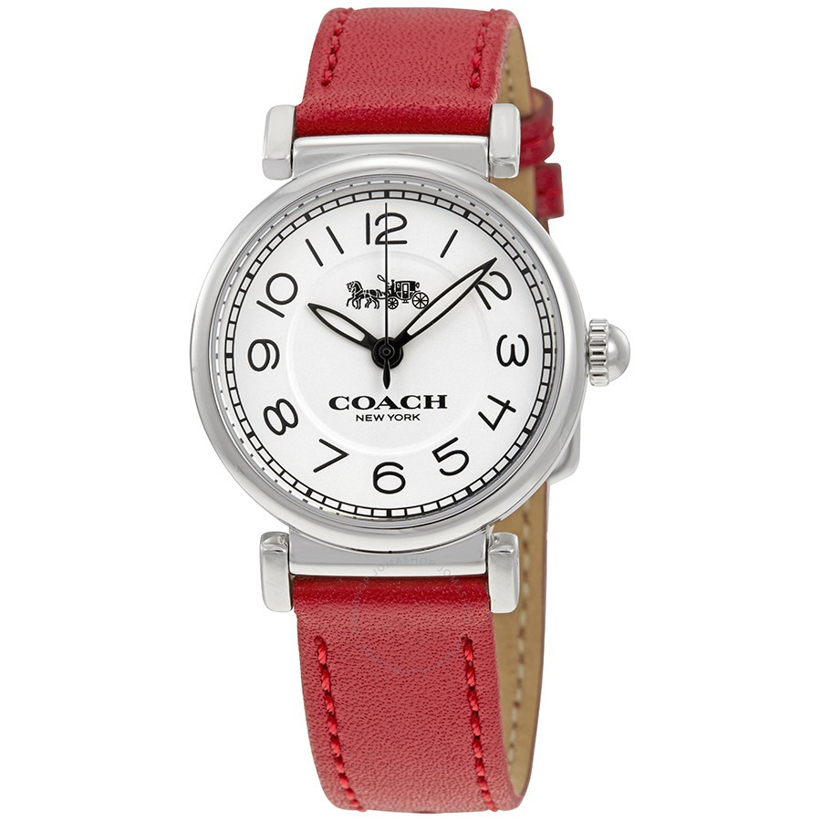 COACH 一抹紅皮帶手錶(14502861)