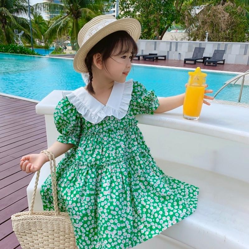女童甜美淑女娃娃海軍領碎花可愛連衣裙 小女孩夏季新款甜美碎花洋裝 裙子【IU貝嬰屋】