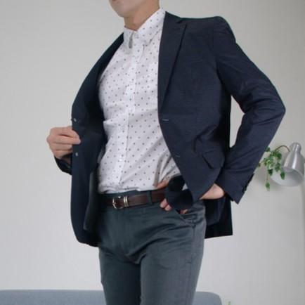 【Man's Look】開幕特價 正韓空運 品味 清爽 透氣 超薄 微彈 西裝外套-藍黑M