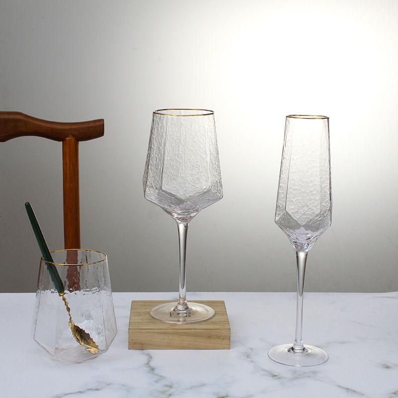 【好物推薦】復古歐式鉆石型錘紋紅酒杯 香檳杯水晶玻璃高腳杯葡萄酒杯 甜酒杯