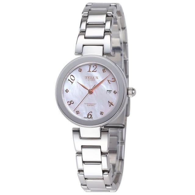 台灣品牌手錶腕錶【TELUX鐵力士】煥彩女神腕錶 30MM台灣製造石英錶7771W-W15-SH鋼帶珍珠母貝