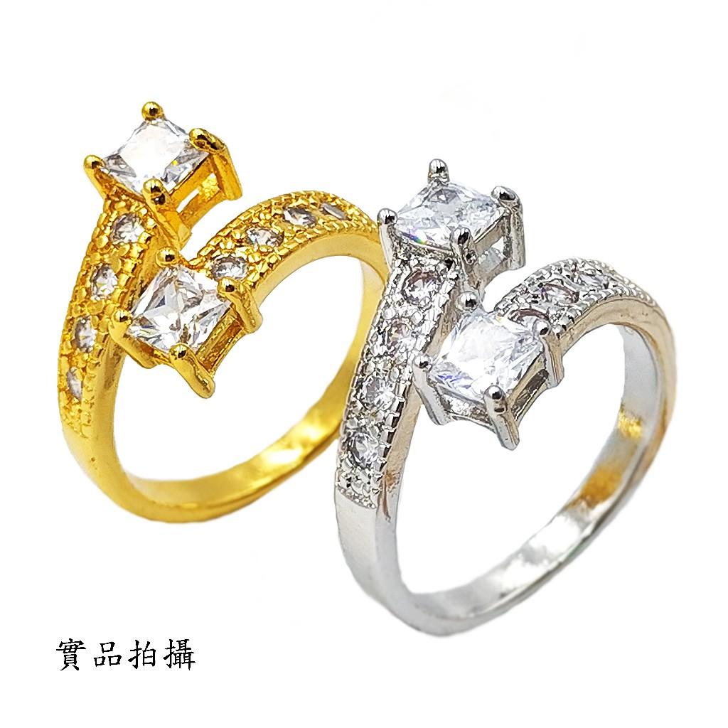 戒指 開口款戒指 可調整 方形水鑽 韓系鋯石 鍍24K金 防敏防退 艾豆『H3955』