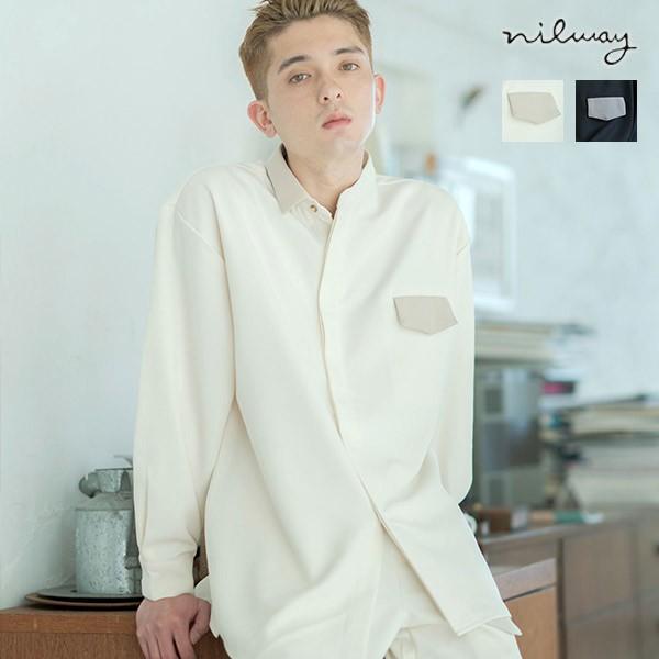 nilway 非對稱長袖襯衫 異色拼接 寬版 長袖襯衫 2色 ZIP 日版【az20271n】
