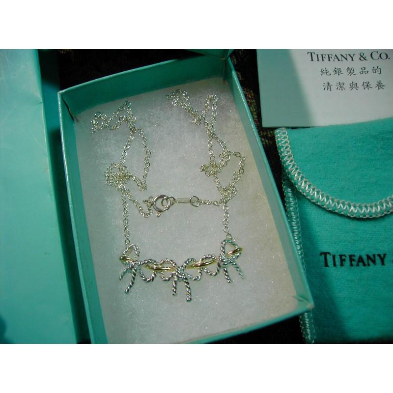 Tiffany & co.絕版真品~復古三蝴蝶結項鍊-純銀+K金