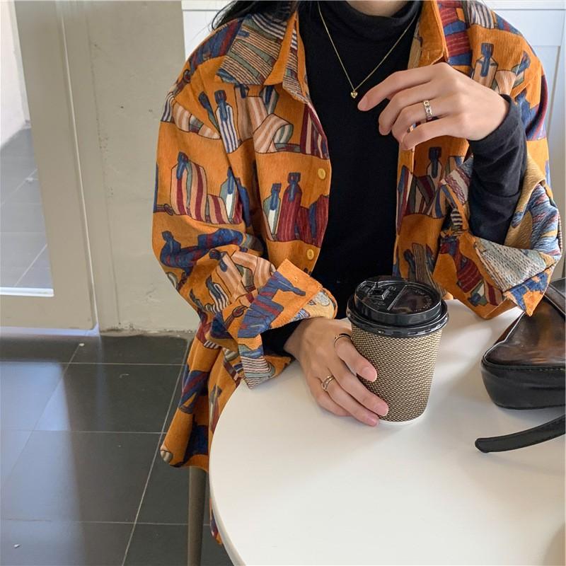 春季新款女裝外搭上衣寬鬆印花外套復古港風燈芯絨襯衫洋氣