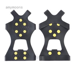 Amymoons 新款戶外10齒冰爪雪地防滑鞋套簡易10釘冰爪滑雪冰雪路面耐磨雪爪釘鞋